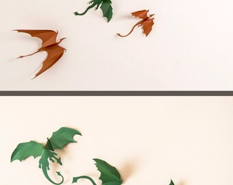 Game of Thrones inspired 3D Dragon Wall Art: dragon silhouettes, fantasy decor, green & copper mix