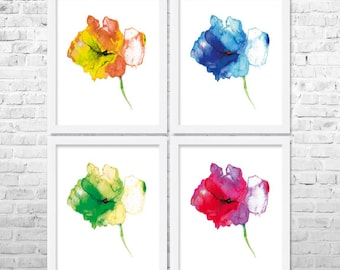 Flower Watercolor Art Prints Set of 4, Floral Print Set. Watercolor Flower Painting, Floral Painting, Home Decor, Watercolor Prints