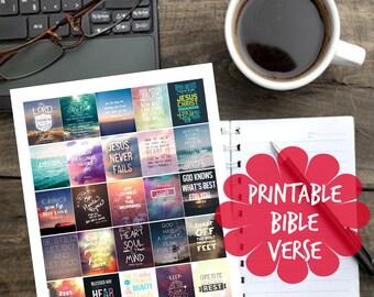 Printable Bible Verse Planner Stickers for Erin Condren Planner