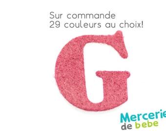 """Letter """"G"""" alphabet in felt - 29 color choices - 2.5 cm x 2.5 cm"""