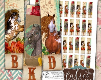 Digital, Collage Sheet, Horse Initials, Cowgirl, Printable Images, Matchstick Size,  12x50mm, Half Domino Size, Images for Earrings, Country