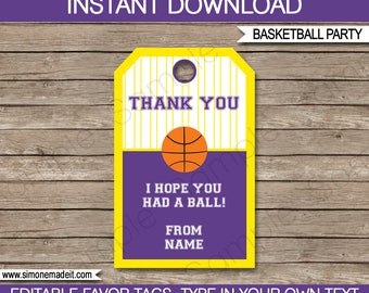 Basketball Theme Favor Tags - Purple & Yellow - Birthday Party or Team Favors - Printable Thank You Tags - INSTANT DOWNLOAD - EDITABLE text