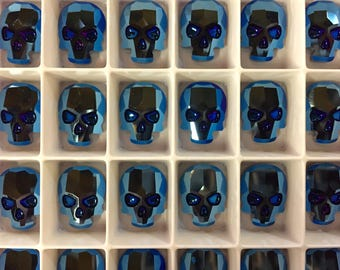 Pair Swarovski Crystal Skull Flat Back Flatback Hot Fix Hotfix Metallic Blue Iron Man Cobalt Sapphire Gunmetal Science Fictiion Sci Fi Two