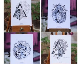 Set of 4 cards postcards geometric animal Mandala