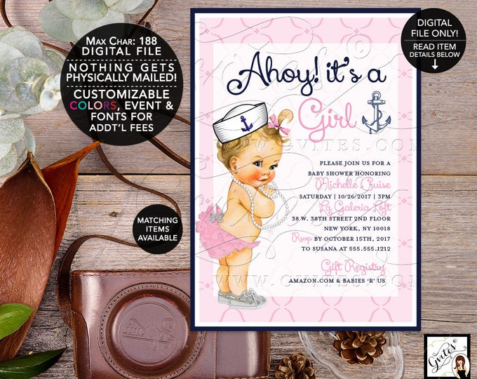 Nautical baby shower invitation Girl, Pink ahoy it's a girl sea invites, navy blue white silver and pink invitations. Gvites