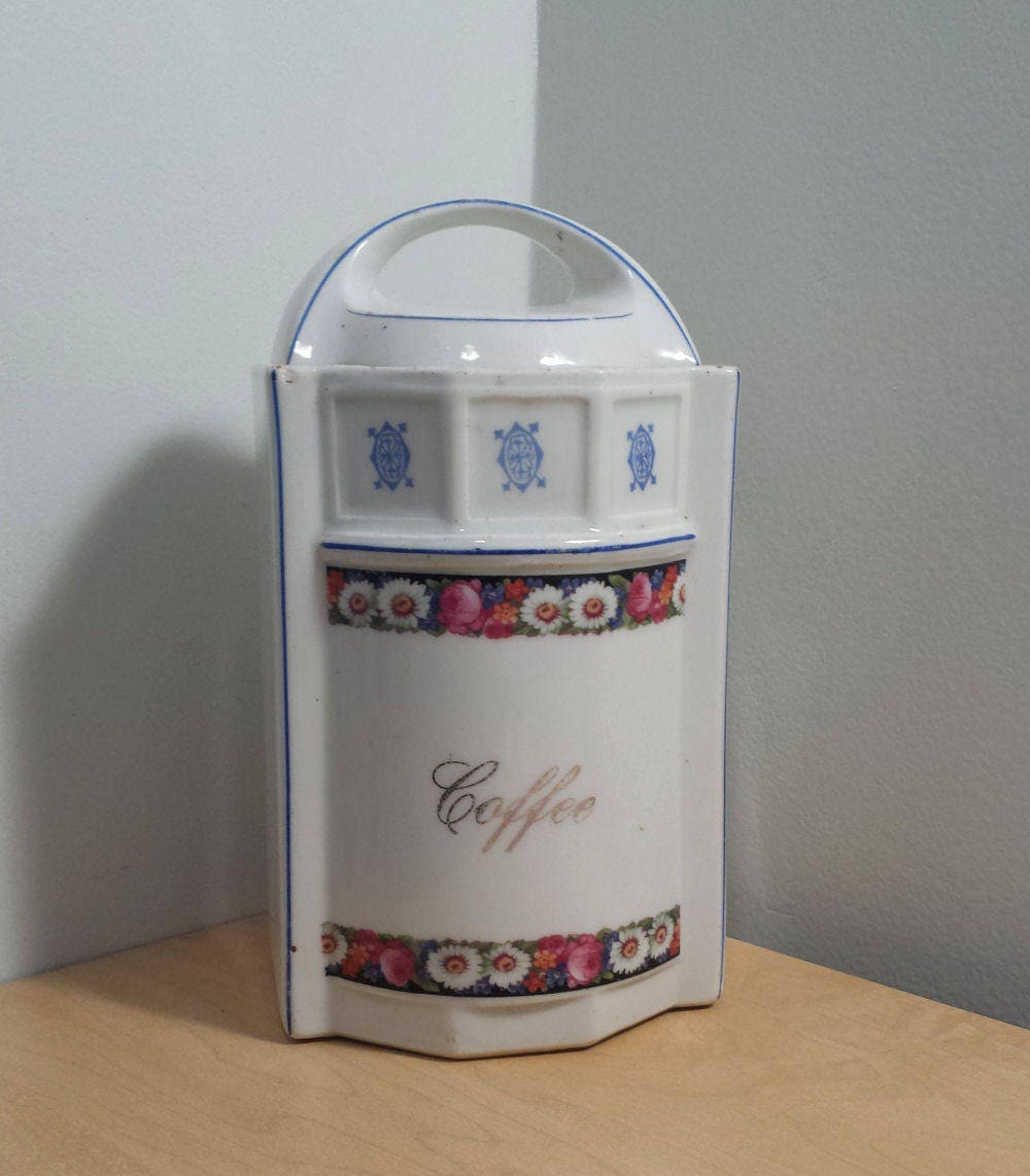 German made vintage Coffee Canister, Floral Pattern, White and Blue porcelain, antique Kitchen Storage