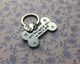 Dog lover's keyring, gift for dog lover, pawprints on your heart, personalised dog gift, all you need is love and a dog