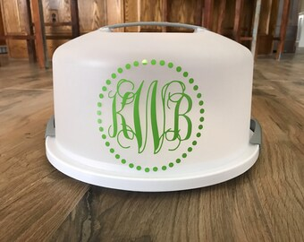 Monogram Cake Carrier / Pie Carrier / Cake Holder / Cake Taker / Cake Plate / Custom Cake Carrier / Cake Keeper / Personalized Carrier & Custom Cake Carrier Monogram Cake Carrier Cake Holder