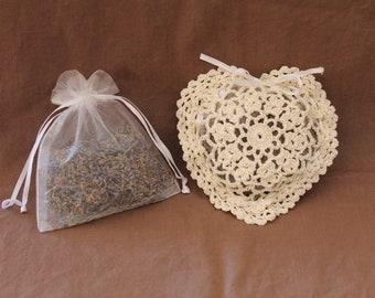Hand Crocheted Lavender Filled Heart Sachet