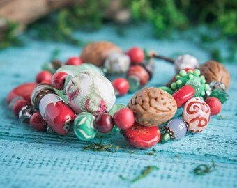 Red green bracelet_ivory brown_artisan lampwork glass_textile ceramic wood_Strega tribal gypsy bohemian_natural coral jade_Scandinavian