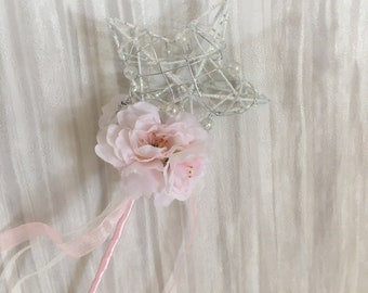 Flower Girl - Bridesmaid Wand pale pink or ivory with cherry blossom