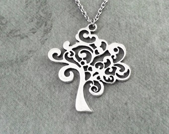 Tree Necklace Curly Tree Jewelry Filigree Tree Charm Necklace Silver Tree Pendant Necklace Bridesmaid Necklace Silver Necklace Tree Gift