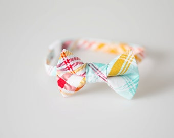 Boys Bowtie - Red, Orange, and Aqua Plaid - Baby Bow Tie