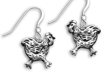 Sterling Silver Chicken Earrings