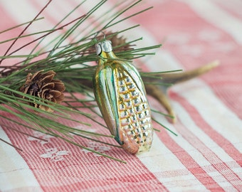 Corncob ornament_yellow green ivory glass_Christmas ornament_vintage collectibles_retro Christmas gift_small old corn_tree decoration