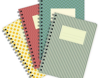 Set of 4 Notebooks A6 – Colorful Patterns