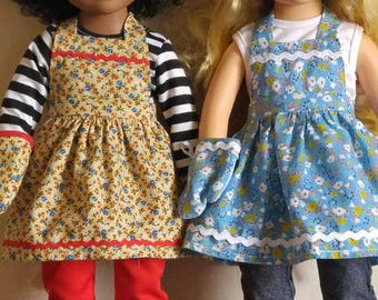 """Apron set for 18"""" American Girl Journey Girl and Springfield Girls"""