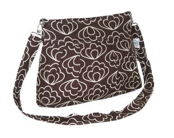 Organic Handmade Sophisticate Long Cross Body Sling Purse - Brown Blossom - Free Shipping