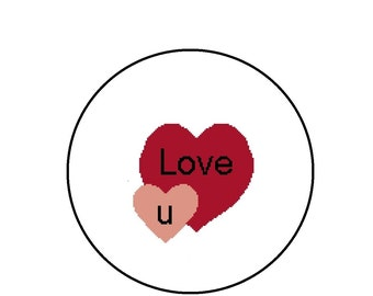 Hearts Cross Stitch Pattern - Love You Candy Hearts - PDF