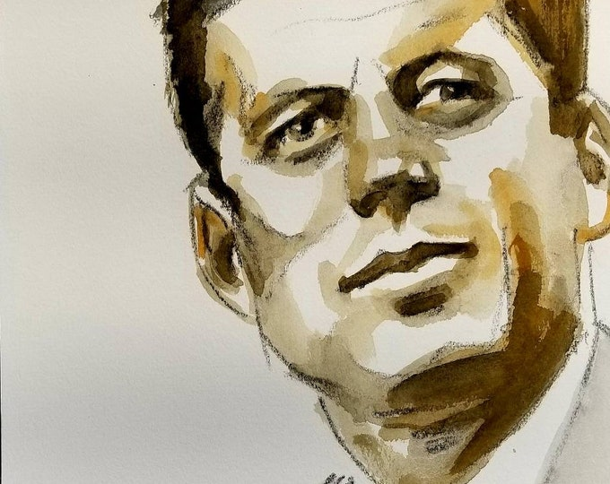 John F. Kennedy, 11 x14 inches, watercolor and crayon on cotton paper by Kenney Mencher