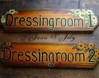 Wildflower Dressingroom Signs - Set of 2 - Wedding, Bridal, Back Stage, Black Eyed Susan, Daisy