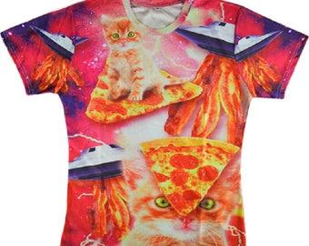 UFO Pizza Space Kitten Cat Kitten 3D Printed T Shirt