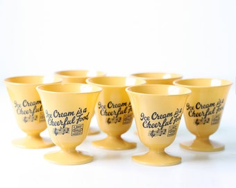 Vintage Ice Cream Cups, Ice Cream is a Cheerful Food, Milk Glass, Hazel Atlas Guild Product, Set of 7