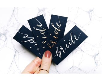 Navy blue name cards, wedding stationery, place cards, table decor