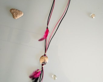 Unique necklace Native American style suede black and dusty pink with matching feather.