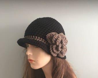 Crochet Cloche Flapper Hat - BLACK/ DARK TAUPE