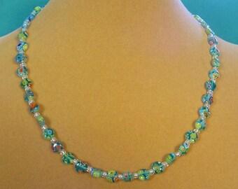 """Such a PRETTY 18"""" Aqua Milliflori Glass Necklace! - N350"""