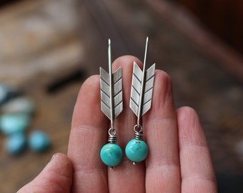 sterling silver & kingman turquoise arrow earrings  ~ personalized with your custom stamped message or JUST BE BRAVE