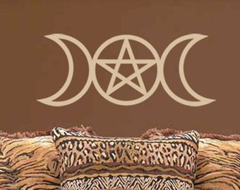 Vinyl WALL ART Triple Goddess Moon Pagan Wiccan Decal