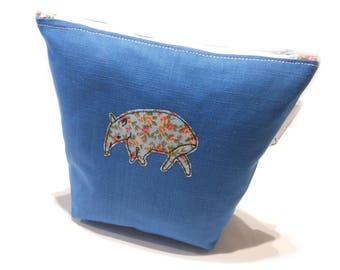 Blue Makeup Bag, Tapir Pencil Case, Tapir Cosmetic Bag, Floral Tapir, Floral Makeup Bag