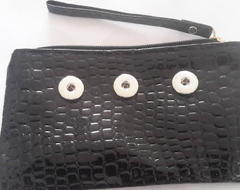 clutch black clutch with 3 snaps supports black faux leather