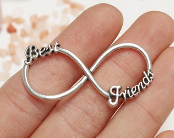 set of  5, best friends charm, infinity link charm, infinity connector, antique silver, 40mm x 20mm