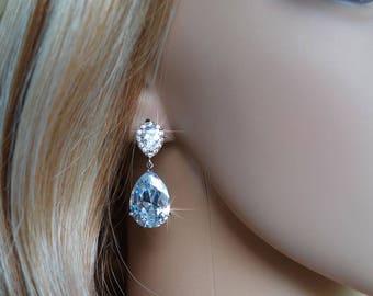 Handmade Classic Cubic Zirconia CZ Large Teardrop Dangle Bridal Earrings, Bridal, Wedding (Sparkle-2739)