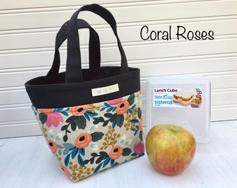 Lunch Cube Tote, coral roses