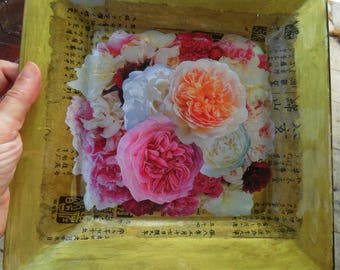 Square PLATE, PLATTER, Tray w/ Collage Decoupage Under Glass, Roses, Gold, For Your Mail & More, by Yael Bolender