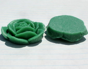 GORGEOUS Big Rose Cabochons - Lot of 2 - 43mm - Emerald Green Color