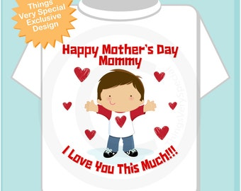 Boy's Happy Mother's Day Mommy Shirt or Onesie for kids, Says I Love You This Much (03212013a)