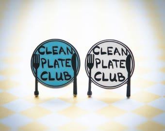 Clean Plate Club - Hard Enamel Lapel Pin   hat pin, food, hat pins, brooch, culinary, foodie, dining, flair
