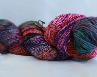 OOAK Speckled hand dyed super wash merino single sock (100 grams) 418 yds