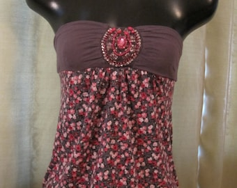 Vintage Beaded Flowered Strapless Top / Shirt for a Lady/Woman/Tween/Teen/Female/Girl 1980's Soft T-Shirt type material