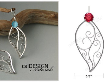 Artisan Made Personalized Filigree Leaf Earrings - Sterling Silver - Birthstones - Mother's Day