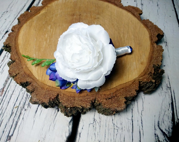 White silk rose royal blue freesia wedding BOUTONNIERE flowers satin ribbon groom groomsman best quality winter summer spring