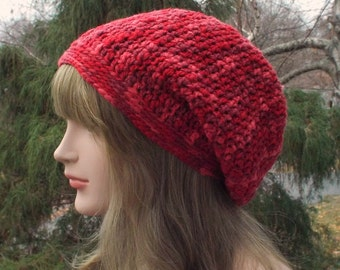 Merino Wool Hat, Red Slouchy Beanie, Slouchy Hat, Womens Crochet Hat, Oversized Slouch Beanie, Hipster Hat, Baggy Beanie, Slouch Hat