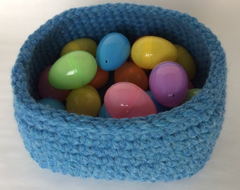 Large Square Base Crochet Basket/Sky Blue