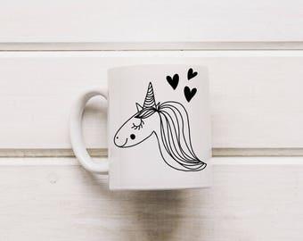 Cute Uniorn Mug, Unicorn Sketch, Unicorn Cup, Magical Unicorn, Cute Coffee Mug, Funny Coffee Mug,Beliveve Unicorn,Unicorn Gift,Unicorn Decor