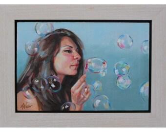 Lady blowing bubbles - Original oil painting by Scottish artist Micaela Walker